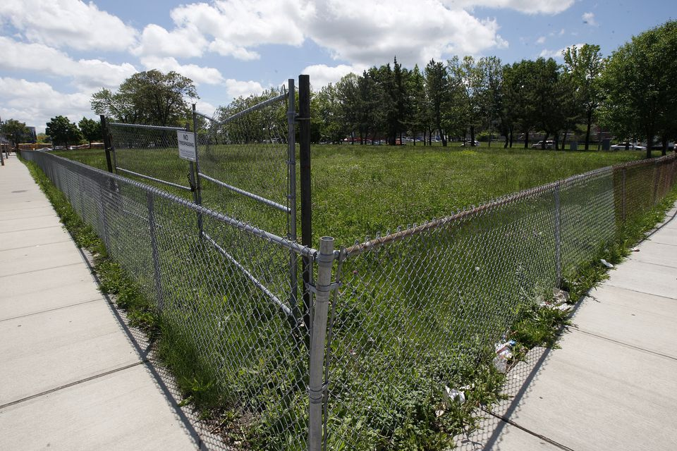 A $63 million complex that will include a 150-room hotel, a two-story commercial and community building, and a five-story residential and retail structure is planned for this parcel on Melnea Cass Boulevard.