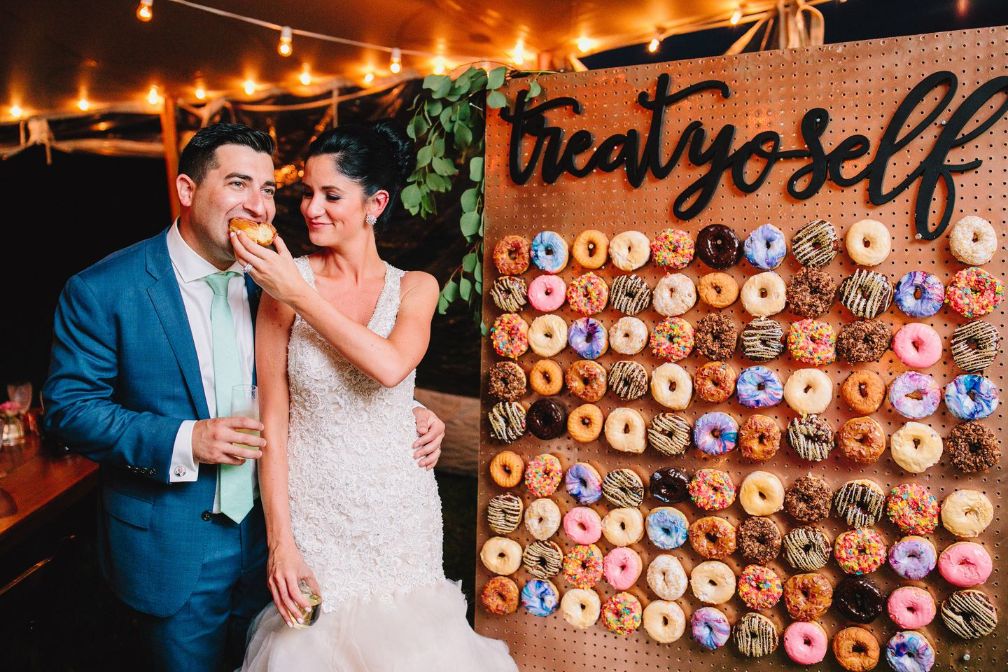 Maple bacon, Fruity Pebbles, and the couple's favorite, chocolate butter crunch, were among the flavors on Molly and Mike Shaw's DIY doughnut wall.