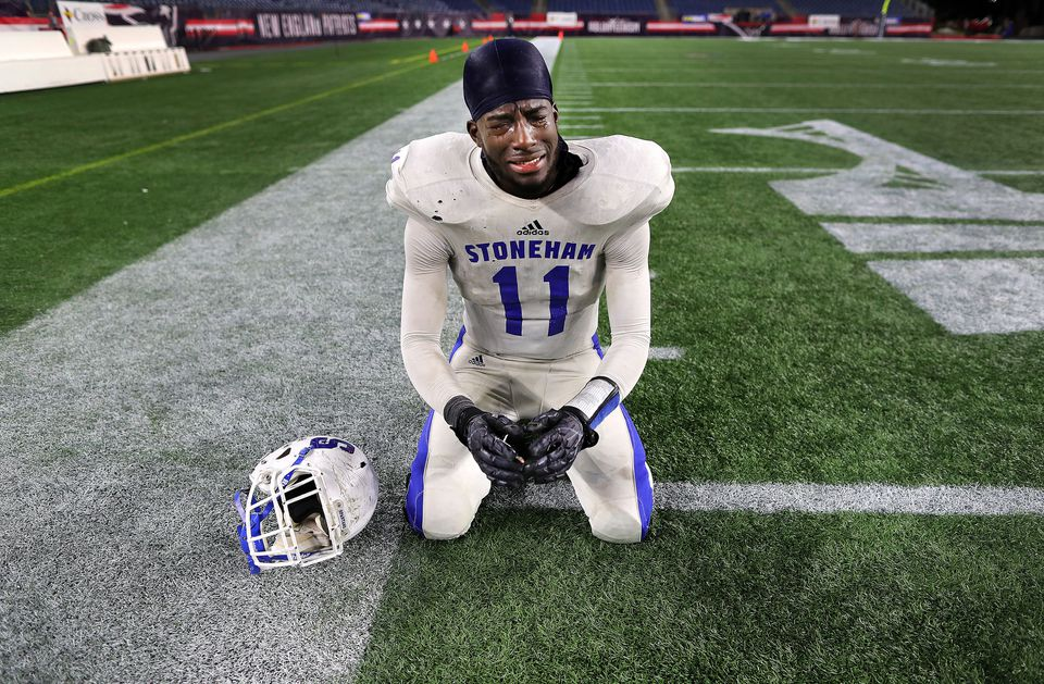 Samuel Labossiere got emotional after Stoneham beat Old Rochester to win the Division 6 Super Bowl.