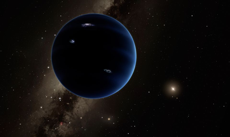 An artistic rendering of the so-called Planet 9 shows the view facing back towards the sun.