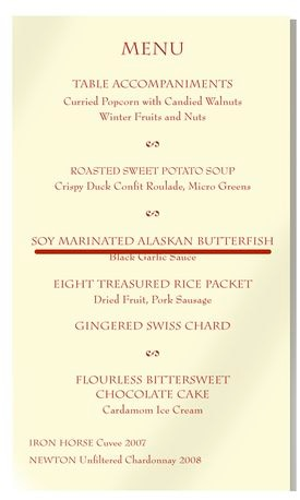"Ming Tsai, the owner of the Blue Ginger restaurant in Wellesley, served ""Soy marinated Alaskan Butterfish"" at a State Department lunch, but it was actually sablefish."