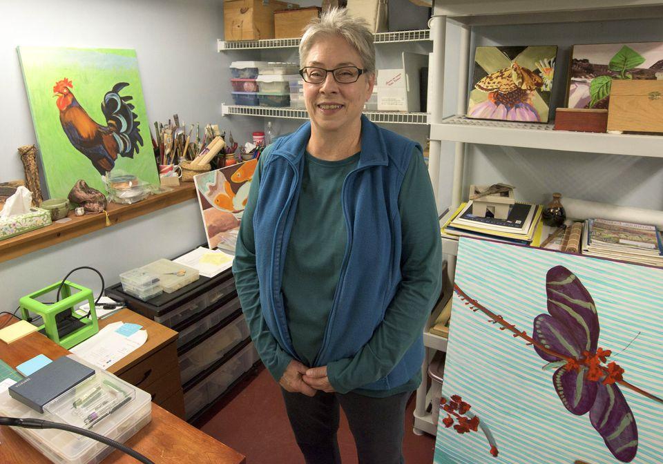 Mary Beams in her basement studio in Grand Marais, Minnesota.