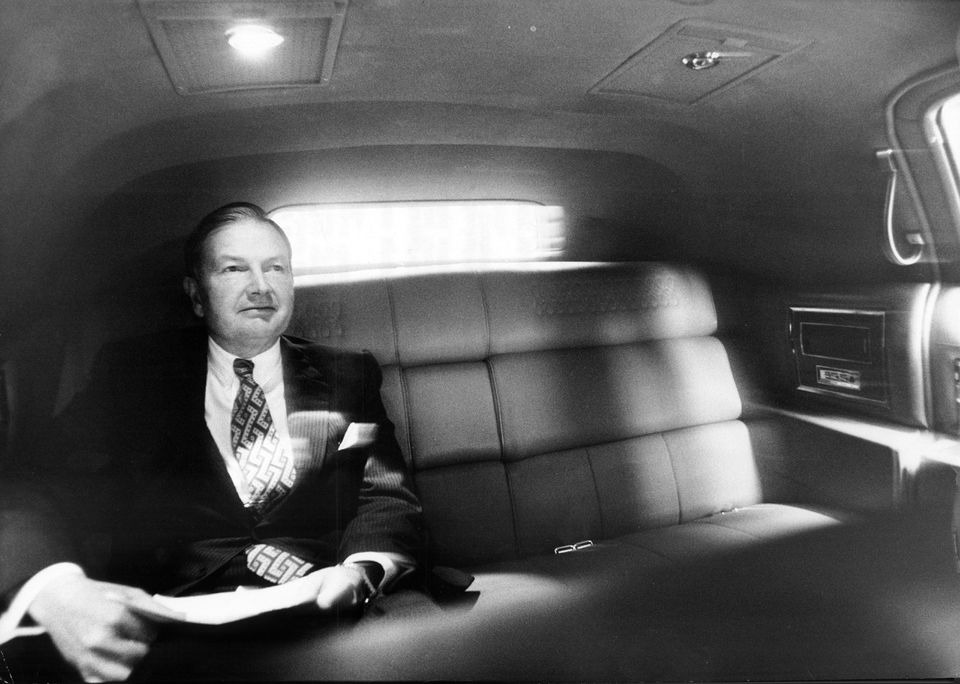 Mr. Rockefeller headed uptown from his office in Manhattan in a Cadillac limousine to a private luncheon in 1973.