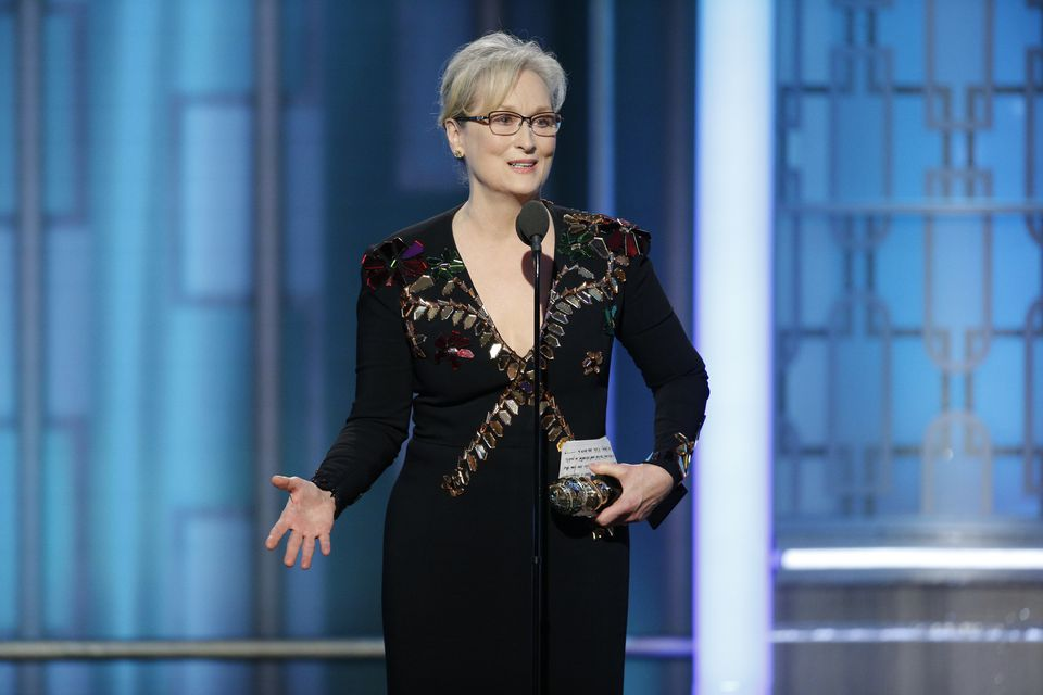 Meryl Streep accepting the Cecil B. DeMille lifetime achievement award at the Golden Globe Awards Sunday night in Beverly Hills.