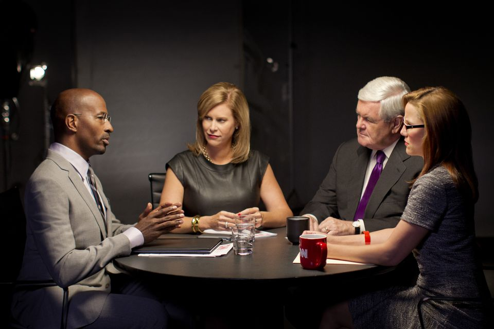 """CNN's new """"Crossfire"""" panel is (from left): Van Jones, Stephanie Cutter, Newt Gingrich, and S.E. Cupp."""