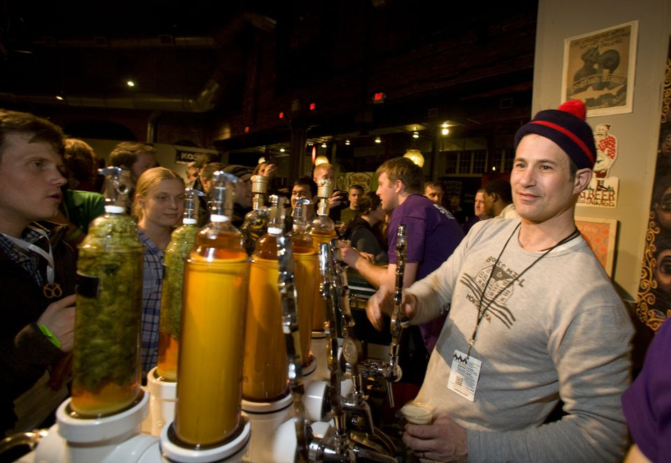 Dogfish Head Craft Brewed Ales owner Sam Calagione at the Extreme Beer Fest at the Cyclorama in Boston on March 15, 2013.