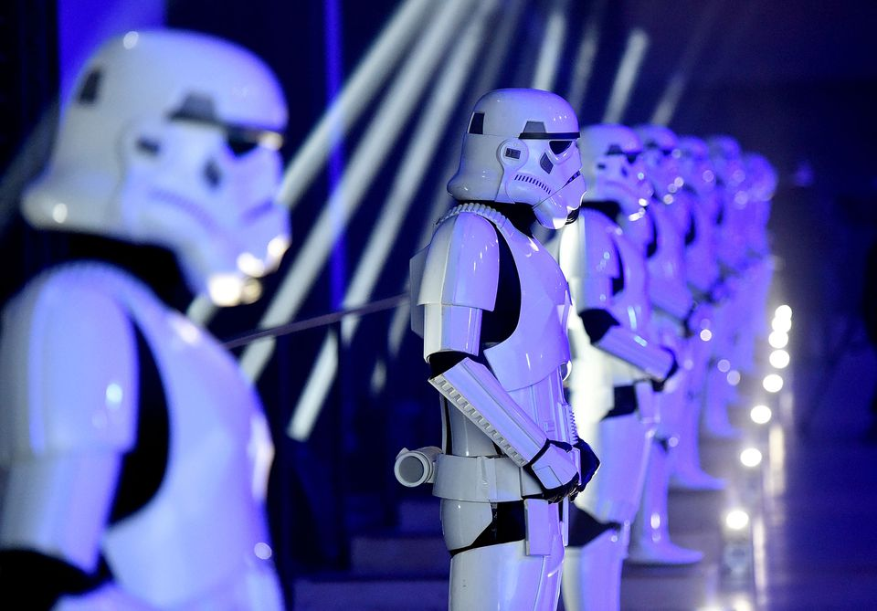"""Stormtroopers at the launch event for """"Rogue One: A Star Wars Story"""" at the Tate Modern in London."""