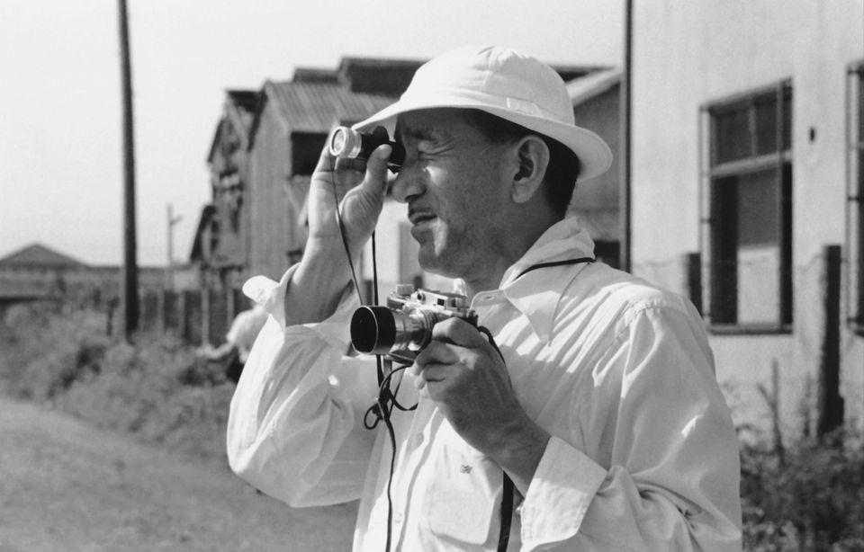 "Yasujirô Ozu in a scene from Daniel Raim's ""In Search of Ozu."""