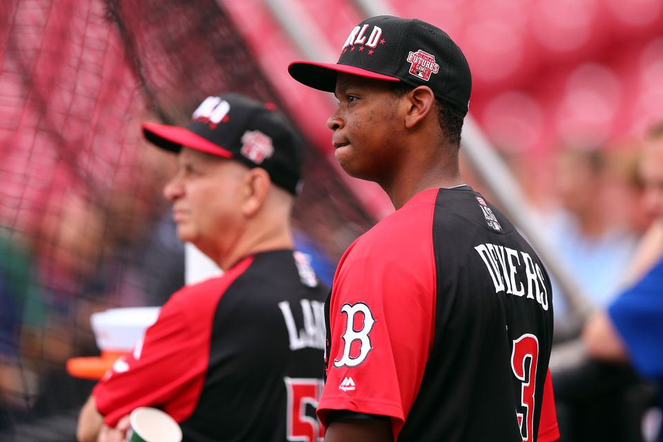 49137c82bb4 Rafael Devers was on the World Team at the All-Star Futures Game in July