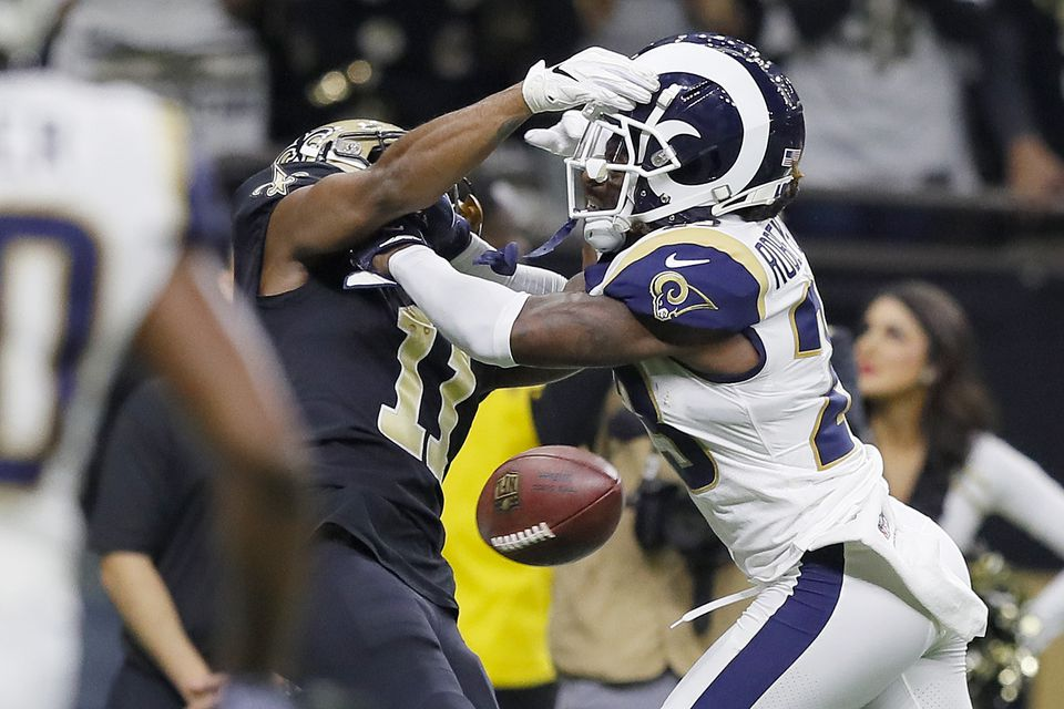 Tommylee Lewis was drilled by the Rams' Nickell Robey-Coleman before he could try to catch a pass but no flag was thrown.