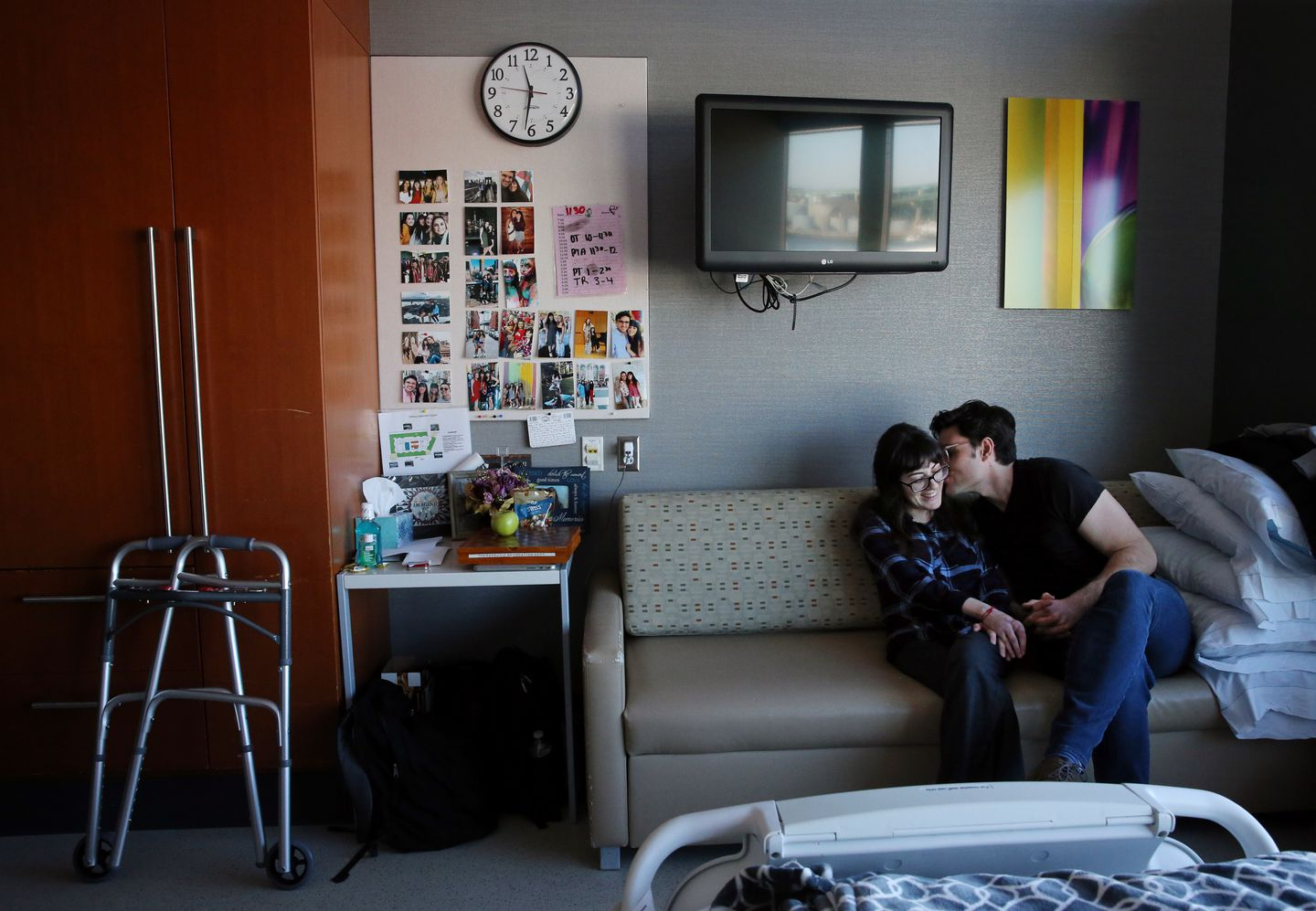 Sonya shared a moment with her boyfriend, Alex Pankiewicz, in her room at Spaulding Rehabilitation Center in Charlestown.