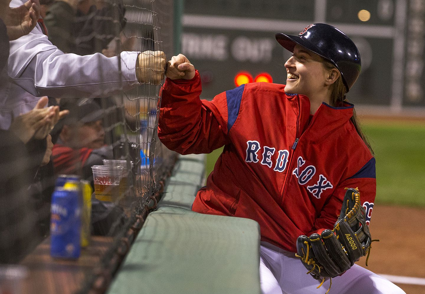 What Is A Hockey Player Doing On The Field During Red Sox Games At