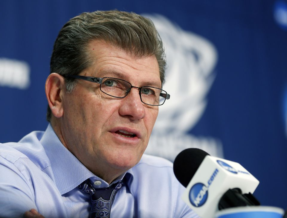 Connecticut women's coach Geno Auriemma disparaged the college men's game in a conference call Wednesday, saying it had become a joke.