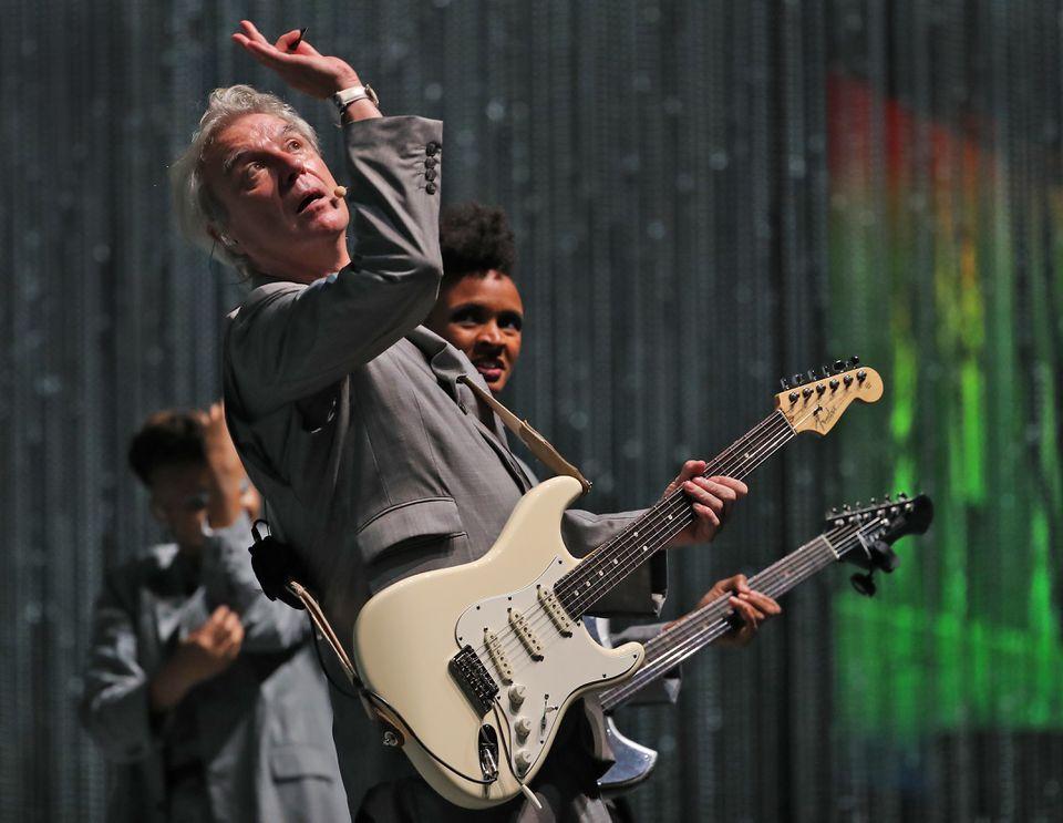 David Byrne onstage at Blue Hills Bank Pavilion.