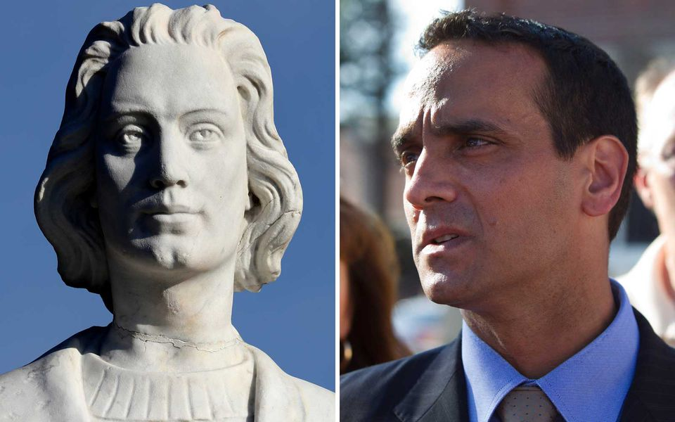 Somerville Mayor Joe Curtatone (right) and a statue of Christopher Columbus.