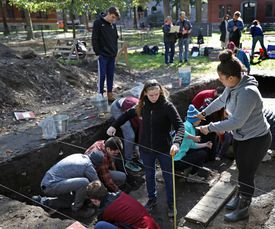 Students working on the Harvard Yard archeological livestreamed the project too students in six states and Puerto Rico, a sort of virtual field trip.