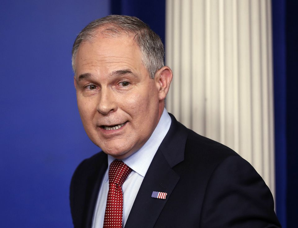 """Environmental Protection Agency Administrator Scott Pruitt made a speech last week declaring the end of the """"war against coal"""" and calling for the end of federal tax credits for wind and solar power."""