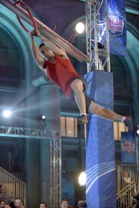 "Josh Levin, a senior at Northeastern University, competing on ""American Ninja Warrior."""