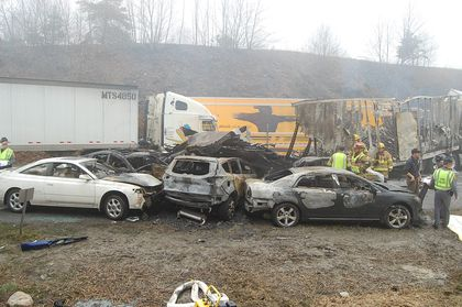 95 vehicles crash on foggy stretch of Va  highway - The