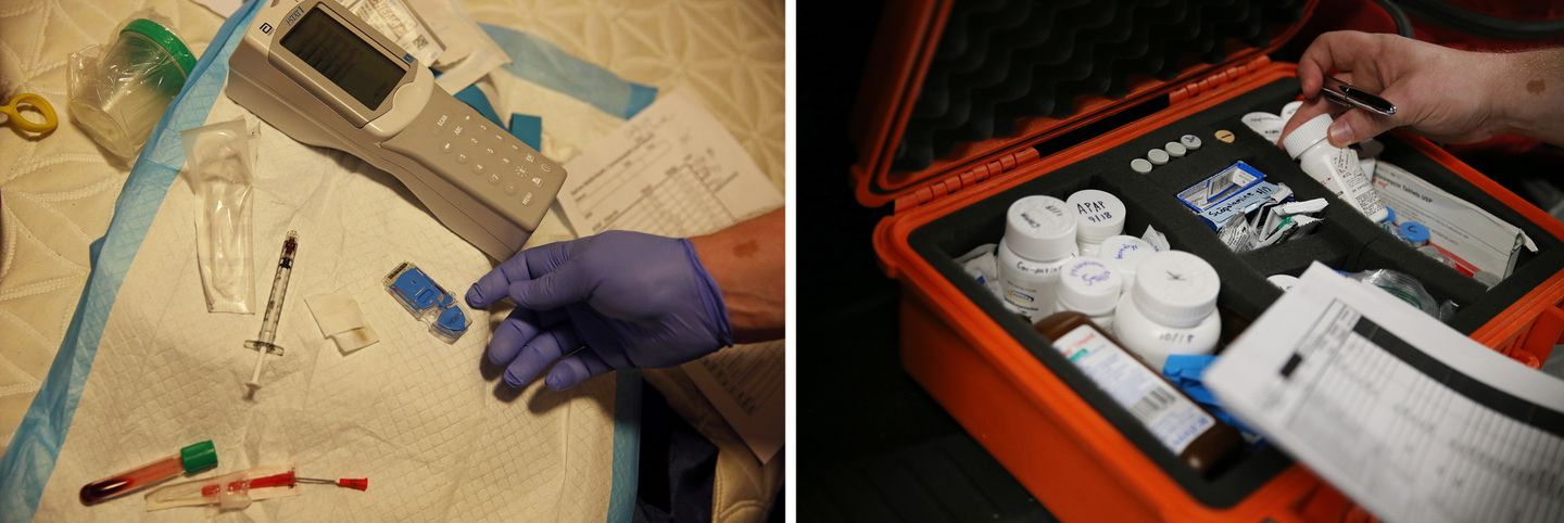 I-STAT to analyze a blood sample (left) and medications.