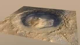 Gale Crater on the planet Mars, is shown in an artist's depiction provided by NASA.