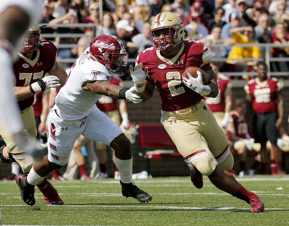 BC running back AJ Dillon (2) injured his ankle against Temple Sept. 29.