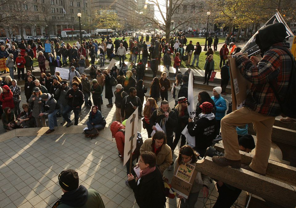 Occupy Boston protesters mobilized yesterday afternoon for a demonstration at Copley Square.