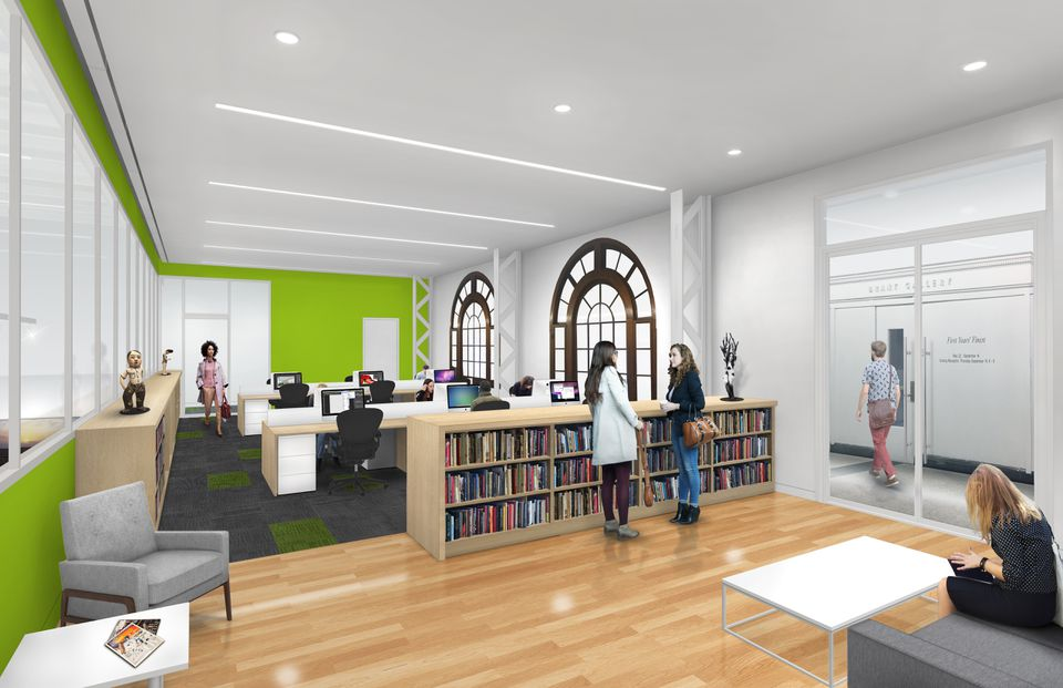 Rendering of the office at the new MassArt Art Museum set to open February 2020.