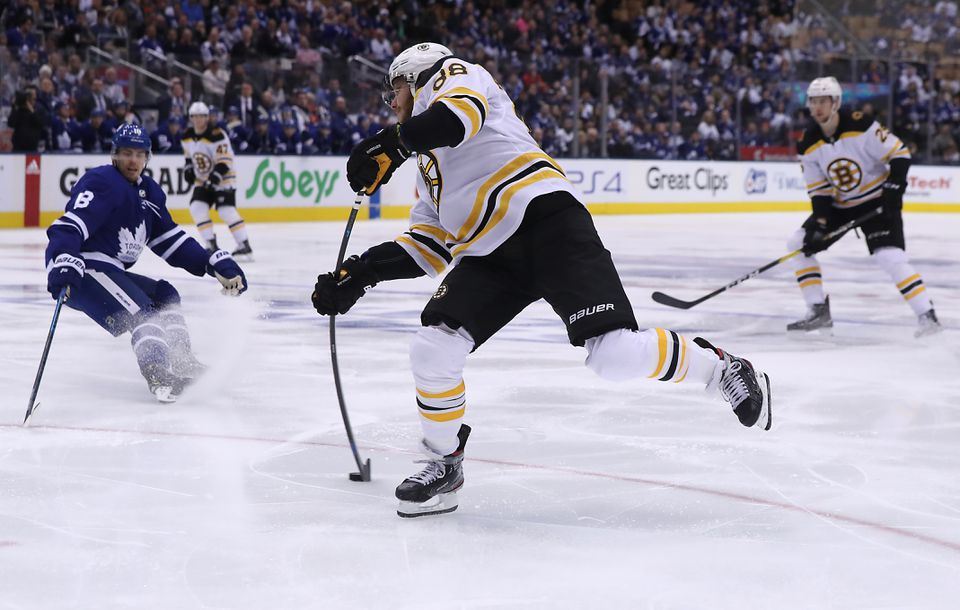 David Pastrnak flexed as he let this shot fly in the second period.