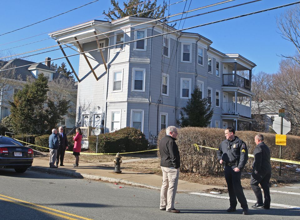 The scene of a double murder of two young children in Brockton Monday.