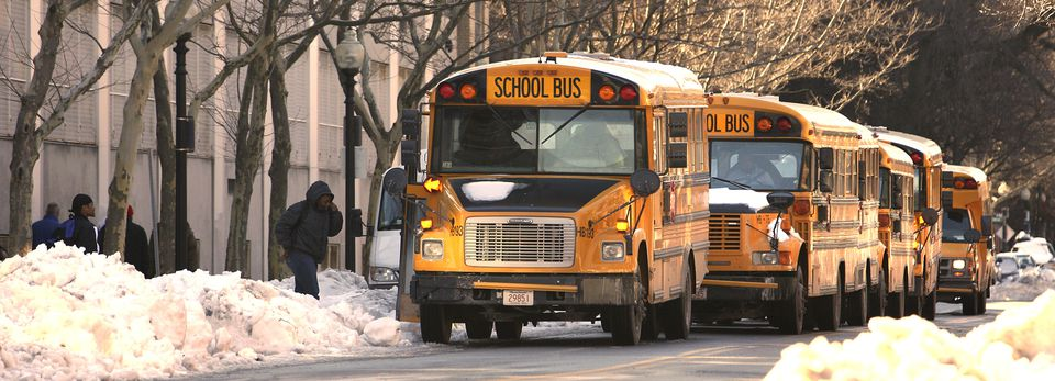 School buses waited for students outside the McKinley School in the South End.