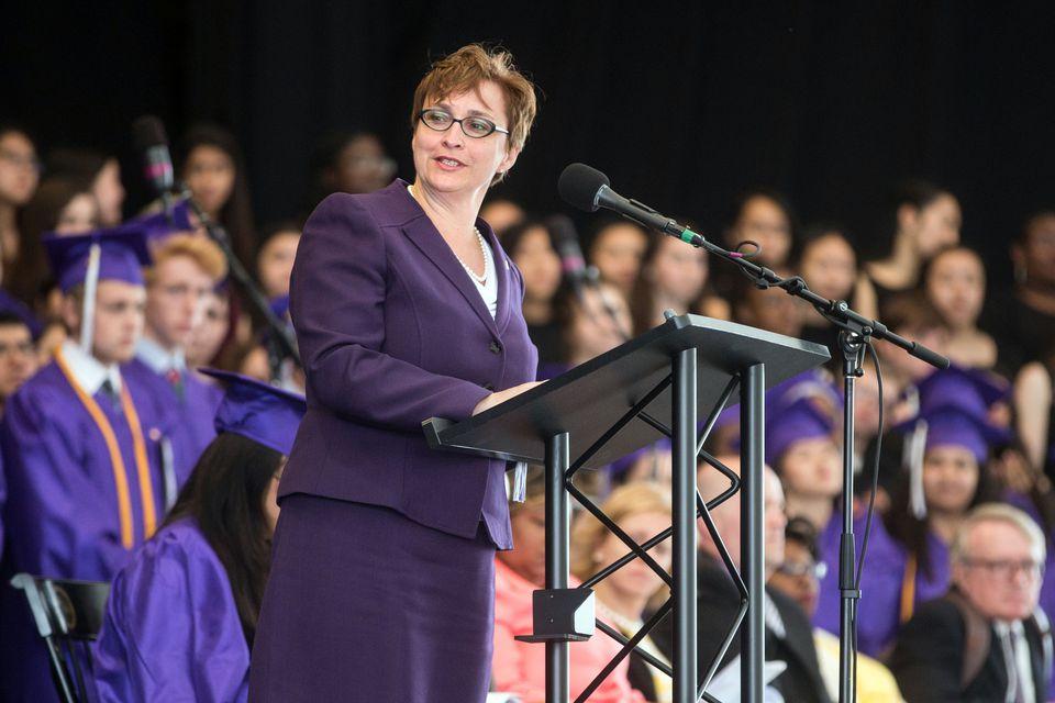 Boston Latin headmaster Lynne Mooney Teta spoke last week during the school's graduation exercises.