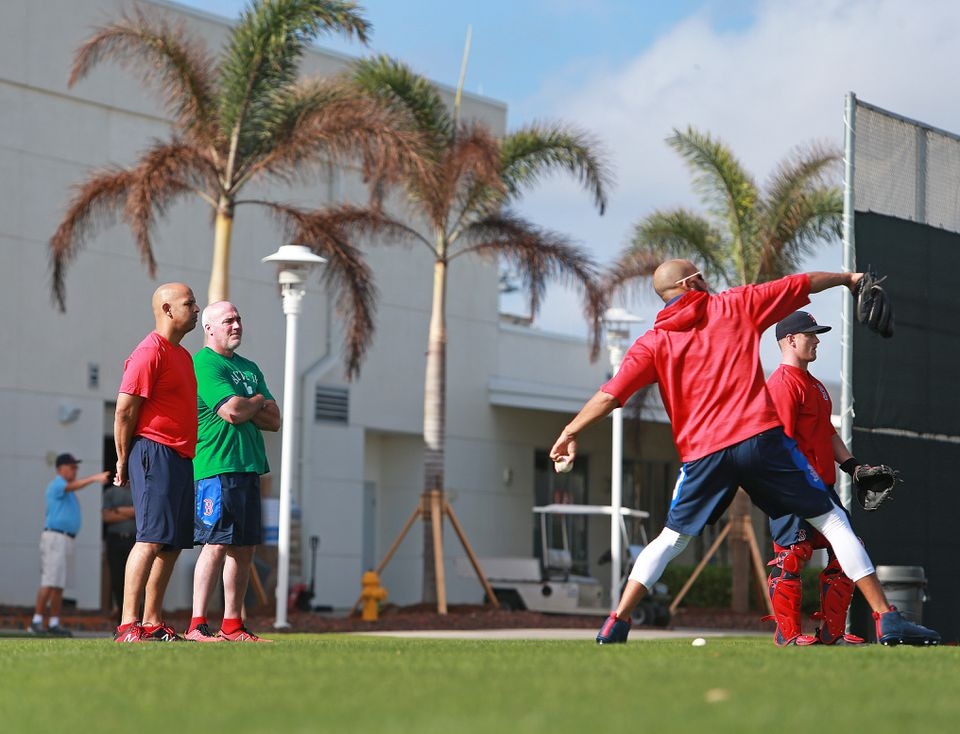 Red Sox manager Alex Cora, left, and pitching coach Dana LeVangie, seen during spring training, will head to Fort Myers this coming week to observe some of the team's pitchers.