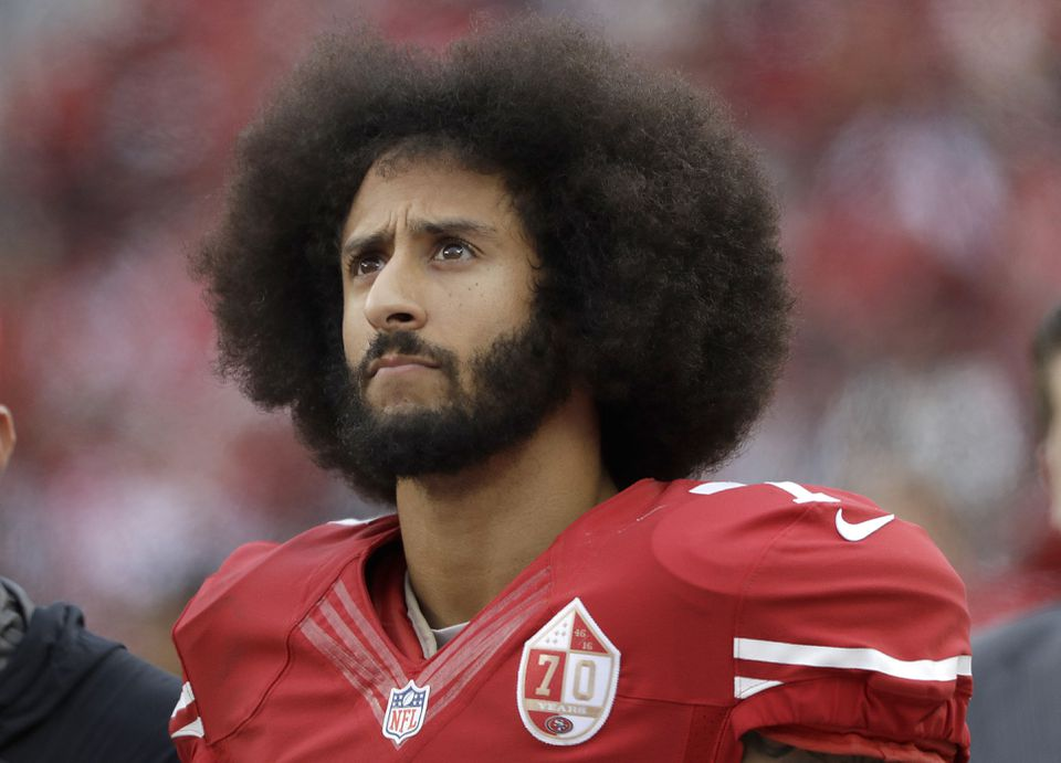 Colin Kaepernick, pictured in 2016, as the quarterback of the San Francisco 49ers.