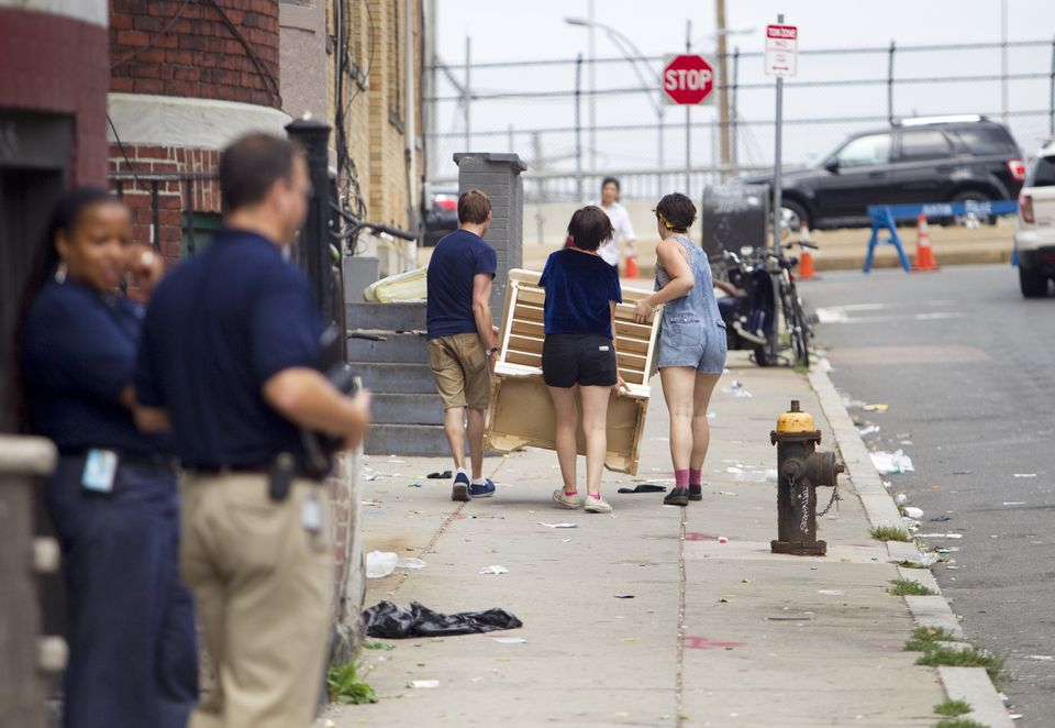 City officials said inspectors will zero in on potentially overcrowded or unsafe properties. Pictured: In August, inspectors tried to visit apartments as students moved in.