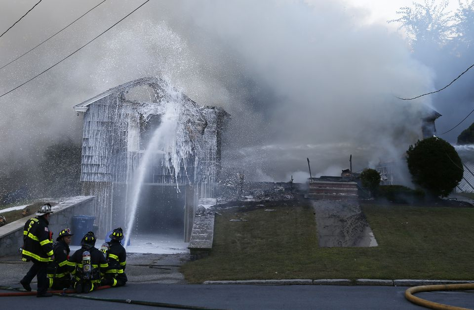 Firefighters battled one of the blazes caused by the gas explosions in Lawrence in September.