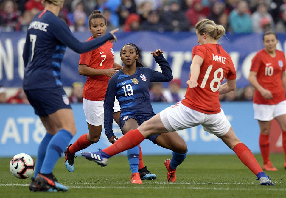 The US (in blue) competed in the recent SheBelieves Cup tournament.