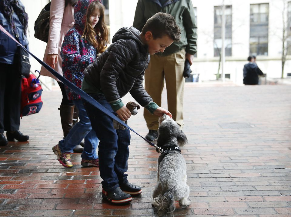 Jacob Lemay, 6, who is transgender, reached down to pet a dog after the transgender flag was raised.