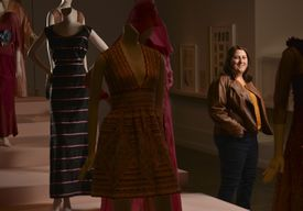 """Biogen Idec marketing team leader Deborah Glasser has a new appreciation for the MFA's """"Think Pink"""" exhibit after a tour with the curator."""