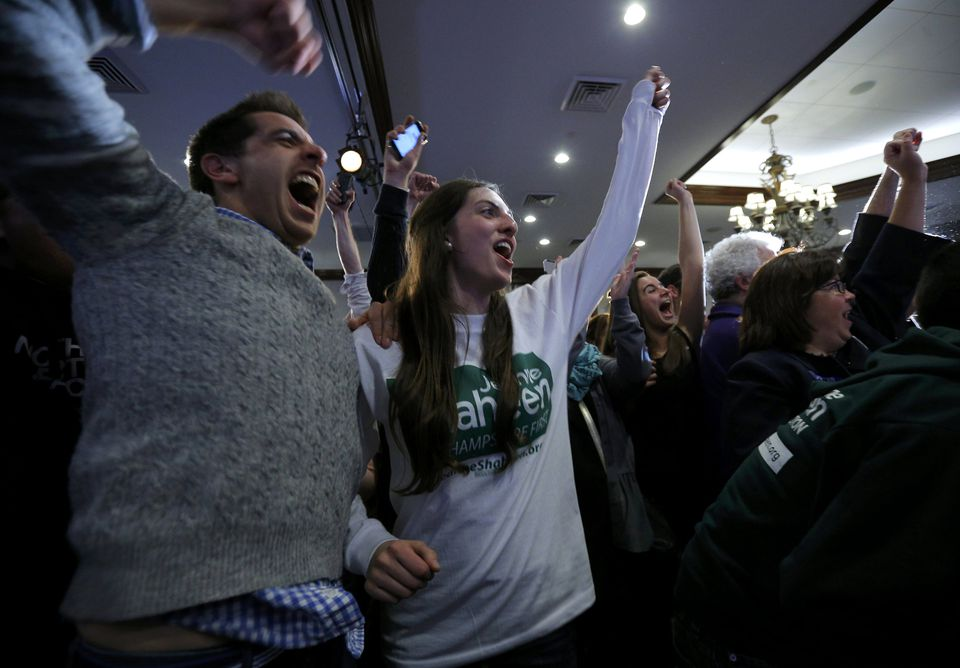 Supporters of Senator Jeanne Shaheen celebrate at her election night rally.