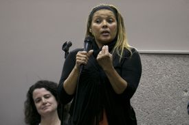 Marianna Silva was among the parents who spoke during the meeting Monday at Newton South High School.