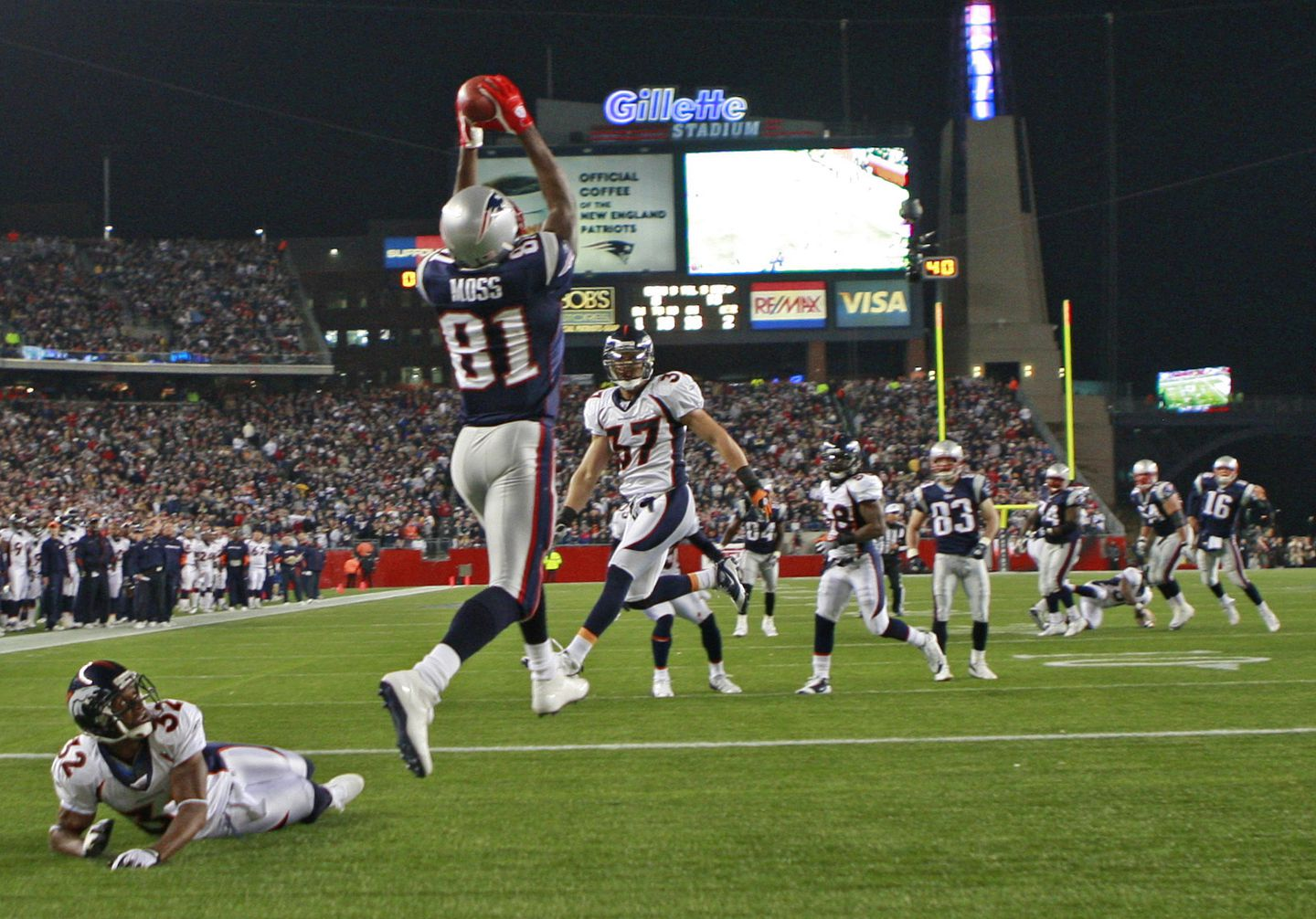 The reinvented Randy Moss caught 23 touchdown passes in 2007.