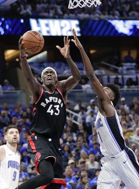 Toronto's Pascal Siakam (43) had 30 points and 11 rebounds to help the Raptors take a 2-1 series lead over the Magic Friday night in Orlando.