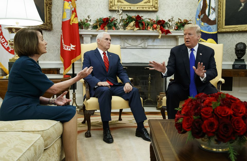 Nancy Pelosi and President Trump spoke during a meeting in the Oval Office on Dec. 11.