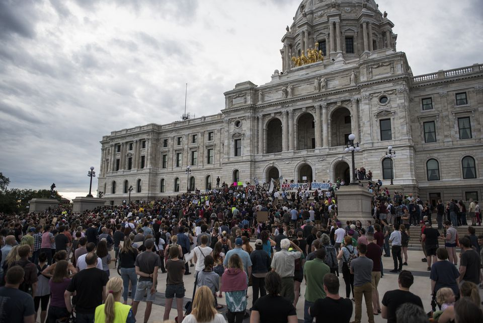 Protestors packed the steps of the Minnesota State Capitol building on June 16 in St. Paul, Minn., following the aquittal of Officer Jeronimo Yanez on all counts in the shooting death of Philando Castile.