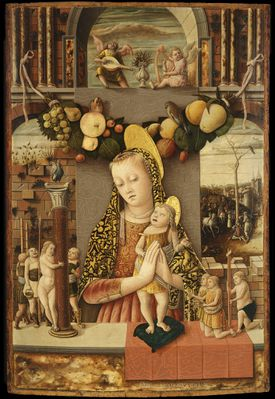 """The Virgin and Child With Infants Bearing Symbols of the Passion"" by Carlo Crivelli is n display at the Isabella Stewart Gardner Museum."