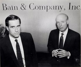 Mitt Romney (left) posed withWilliam Bain Jr. at the firm's offices in Copley Plaza in 1990.
