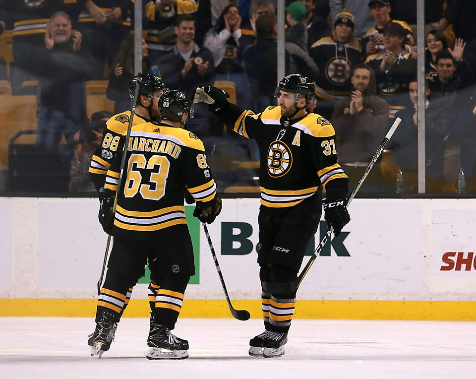The line of Patrice Bergeron (37), Brad Marchand, and David Pastrnak has not been scored upon five on five through 36 games.