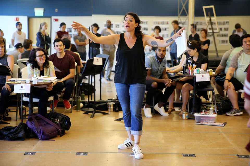 """Director Rachel Chavkin speaks with the cast during a rehearsal of """"Lempicka."""""""