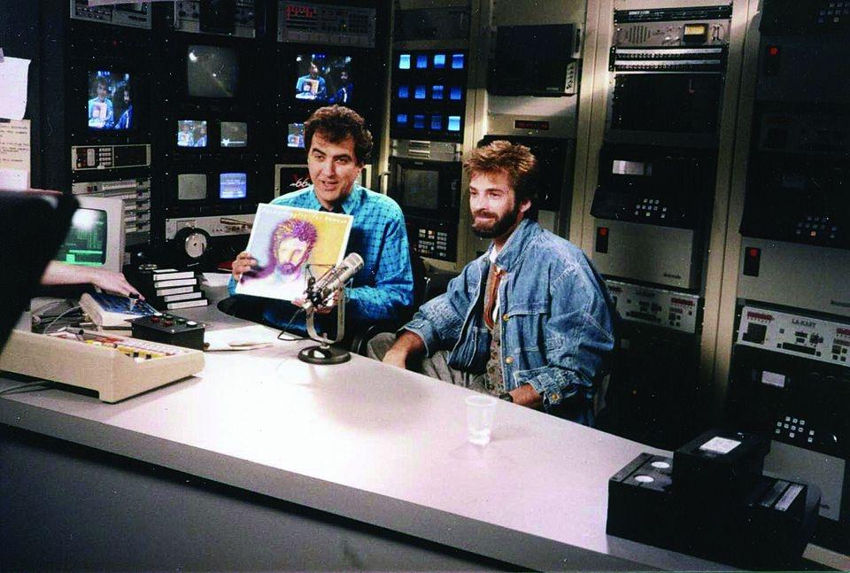 V66 founder John Garabedian on-air with Kenny Loggins in 1985.